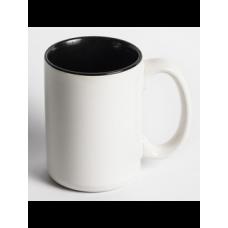 """Чашка біла """"Джамбо"""" кольорова з середини і з ручкою"""