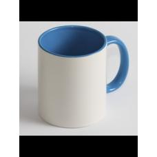 Чашка біла кольорова з середини і з ручкою