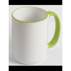 """Чашка біла """"Джамбо"""" з кольоровим обідком і з ручкою"""