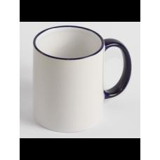 Чашка біла з кольоровим обідком і з ручкою
